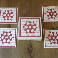 Box of 4 mini Christmas Snowflake  Cards – pink