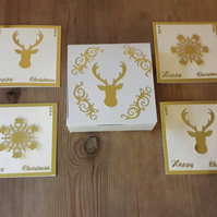 Box of 4 mini Christmas Cards – Stags and Snowflakes – gold