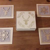 Box of 4 mini Christmas Cards – Stags and Snowflakes – silver