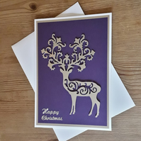 Intricate Die Cut Stag Christmas Card – purple