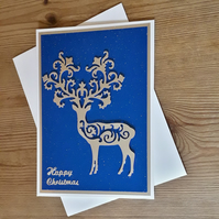 Intricate Die Cut Stag Christmas Card – Blue