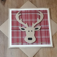 Tartan Stag Christmas Card – red