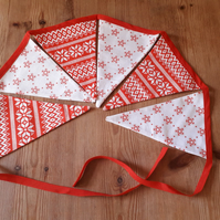 Bunting – fabric, Scandi Red Christmas