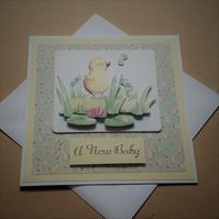 New Baby Duckling Decoupage Card