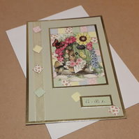 Patchwork Mouse Best Wishes Card