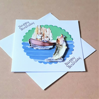 Decoupage Fishing Happy Birthday Card