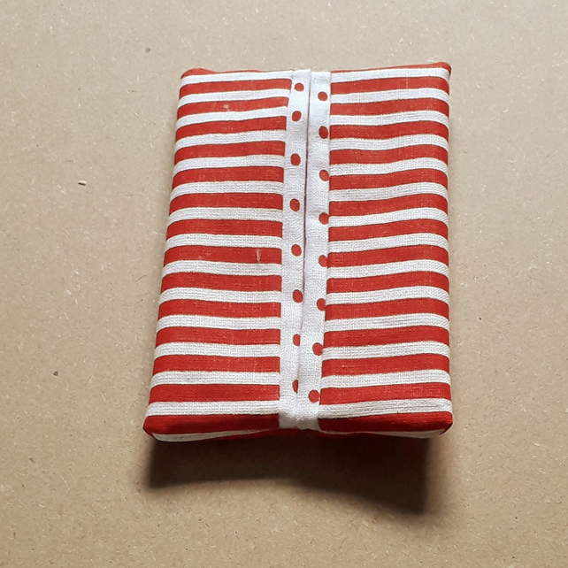 Pocket or Handbag Tissue Pack Holder Red and White Fabric Stripes and Spots
