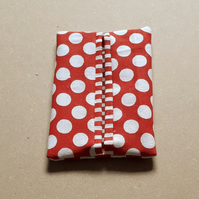 Pocket or Handbag Tissue Pack Holder Red and White Fabric Large Spots & Stripes