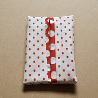 Pocket or Handbag Tissue Pack Holder Red and White Fabric Large and Small Spots