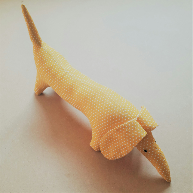 Cute Sausage Dog soft toy - gold