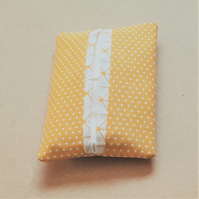 Pocket Tissue Pack Holder Gold and White Polka Dot and Geometric Fabric.