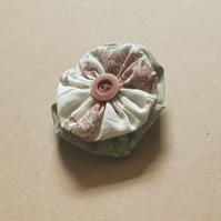 Fabric Button Brooch - green and rose