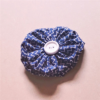 Fabric Button Brooch - Navy Blue and White