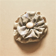 Fabric Button Brooch - Beige and Blue with Wooden Button