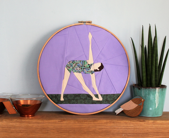 Triangle yoga pose embroidery hoop art - fabric wall picture - bedroom office