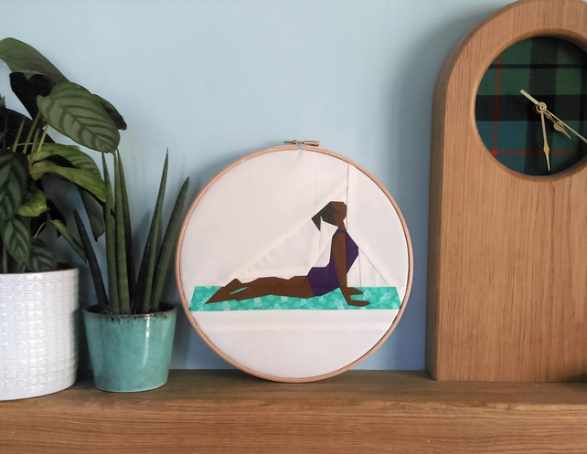 Yoga pose wall picture - upward facing dog - embroidery hoop art - bedroom craft