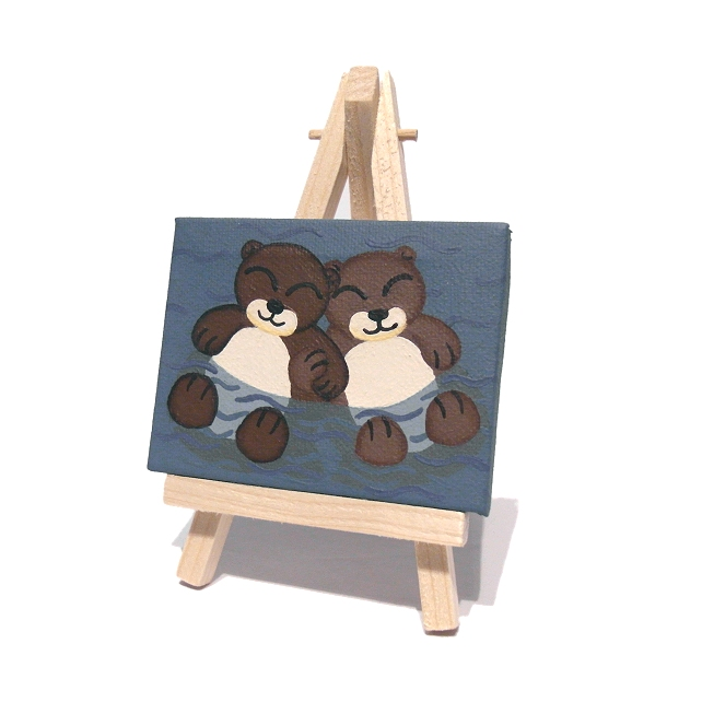 Cute Otters Holding Paws Original Mini Painting - acrylic art of sleeping otters