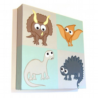 Cute Dinosaurs Original Painting - acrylic nursery art with cartoon dinosaurs