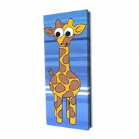 Original Giraffe Painting - striped blue nursery art on long canvas