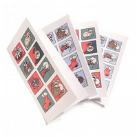 Set of 4 Christmas Rat Cards - tall cards with cute rodents in Xmas scenes