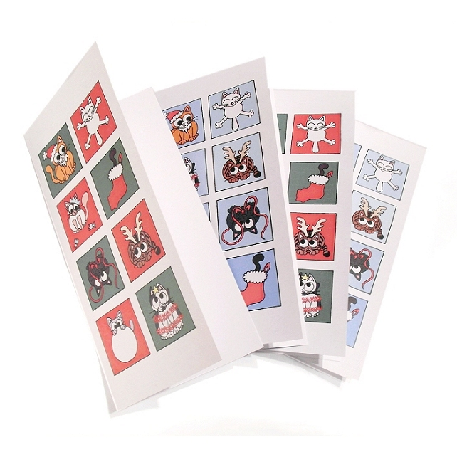 Cute Cat Christmas Cards - set of 4. Seasonal cartoon cats on tall cards