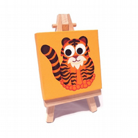 Cute Tiger Original Mini Painting - acrylic art on a miniature canvas with easel