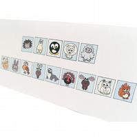 "Cryptic Happy Christmas Card - cute animals spell out ""Happy Christmas"". CT-XYA"