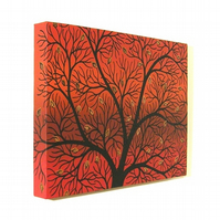 Autumn Tree Original Art - acrylic painting of black branches on orange