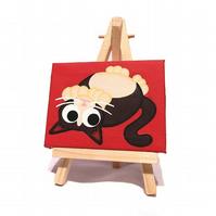 Mini Cat Art - black and white cat painting on miniature canvas with easel