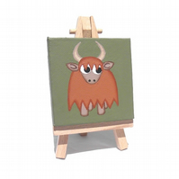 Highland Cow Miniature Art - acrylic painting of a horned cow on mini canvas
