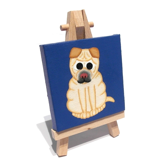 Cute Shar Pei Mini Art - acrylic dog painting on a miniature canvas with easel