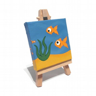 Miniature Fish Painting - original underwater scene on mini canvas with easel