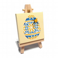 Hatching Egg Mini Painting - blue and yellow pysanka on a miniature canvas