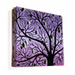 Lilac Tree Silhouette Painting - original acrylic art of purple and black tree