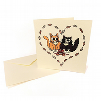 Valentine's Cats Card - blank square card with cute cats in love