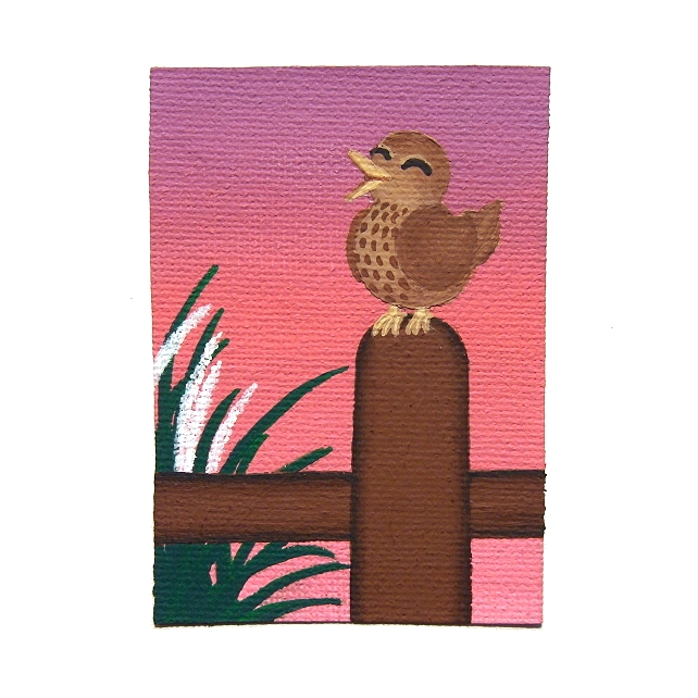 Songbird at Dawn Original Acrylic ACEO