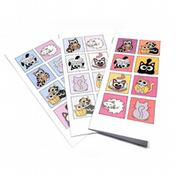 Set of 3 Cat Cards - long cards with cute cat design, blank inside