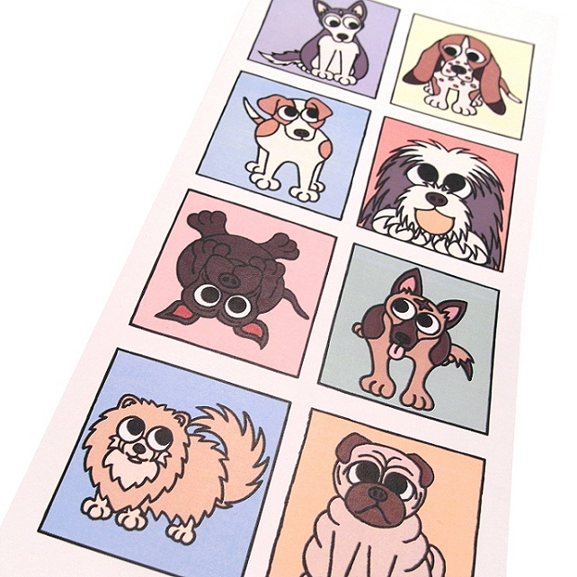 Cartoon Dogs Card - blank inside. Tall card with cute dog breeds. CT-DS