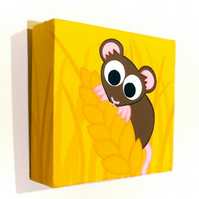 Cute Harvest Mouse Small Canvas Art