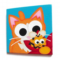 Ginger Cat and Bee Magnet - cute hand painted acrylic fridge art