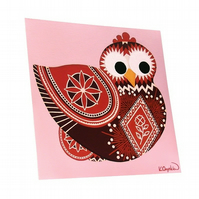 "Pysanky Chicken 8"" Print - cute pink and red artwork inspired by Ukraine"