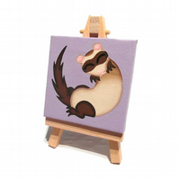 Sleeping Ferret Miniature Painting - cute acrylic art on mini canvas with easel
