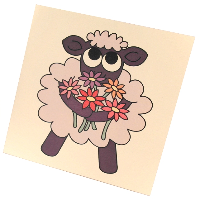 A Little Thank Ewe Card - cute sheep with flowers thank you card
