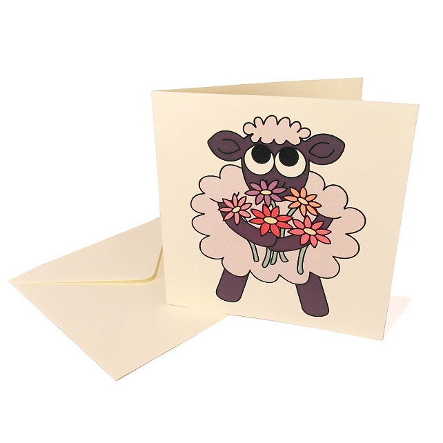 A Little Thank Ewe Card - cute sheep with flowers thank you card. CQ-TE