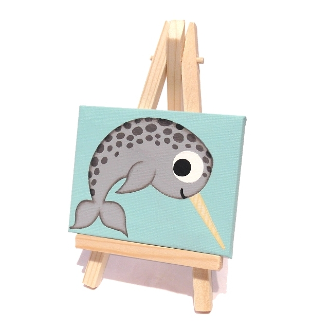 Miniature Narwhal Acrylic Painting - original mini canvas with cartoon whale