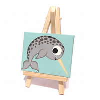 Cute Narwhal Mini Acrylic Painting