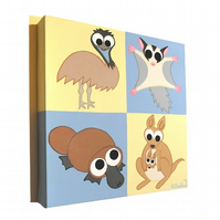 Australian Animals Nursery Art - cute emu, sugar glider, platypus and kangaroo