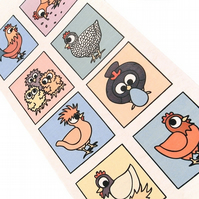 Cute Chickens in Bright Boxes Card - blank inside. CT-CHB
