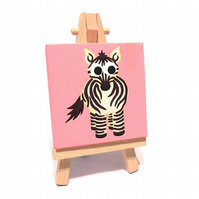Cute Zebra Miniature Painting - cartoon zebra on pink mini canvas with easel