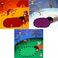 "Set of 3 12"" Cute Animal Prints. Seasonal autumn, winter and spring landscapes"